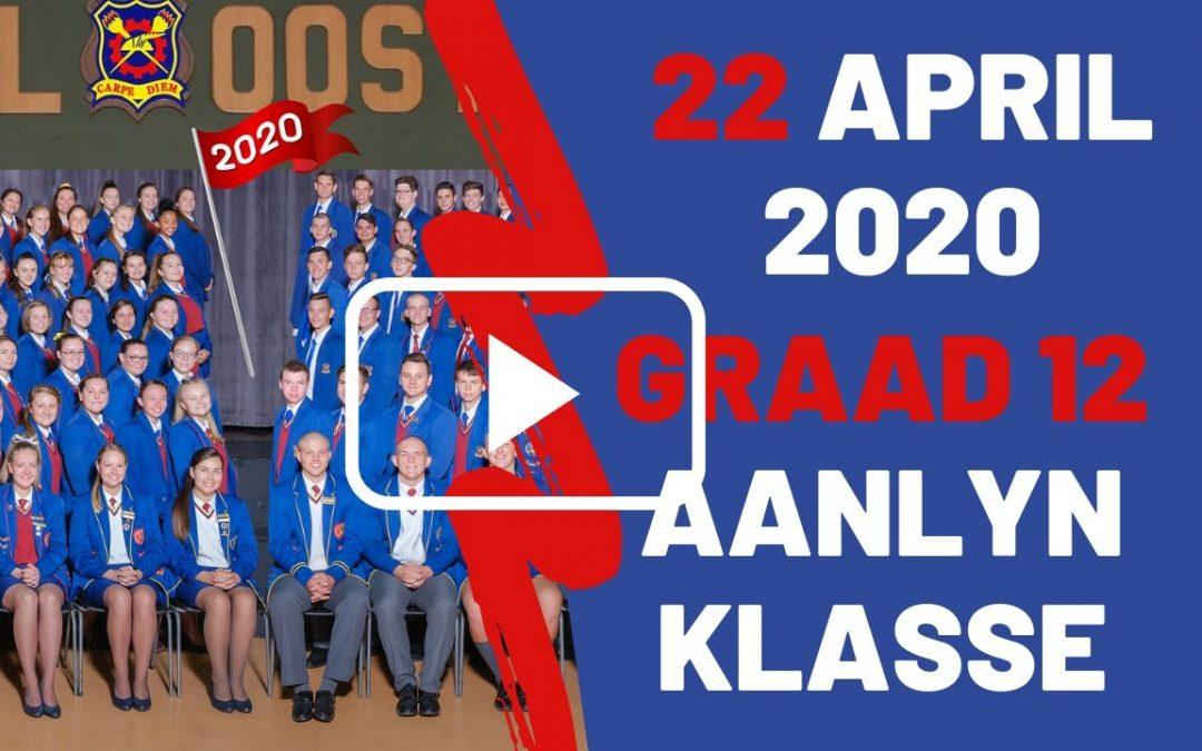 WOENSDAG 22 APRIL 2020 – GRAAD 12